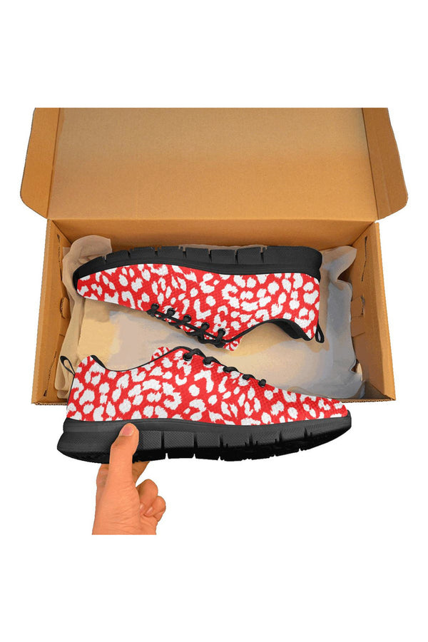 Red Leopard Print Men's Breathable Running Shoes