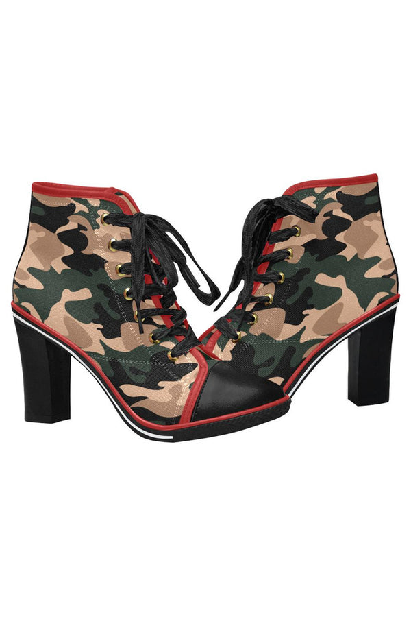 Camo Kicks Women's Lace Up Chunky Heel Ankle Booties (Model 054)