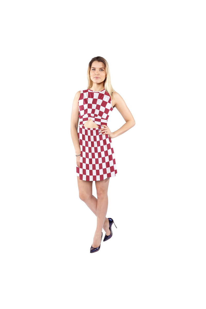 Red Checker Sleeveless Cutout Waist Knotted Dress