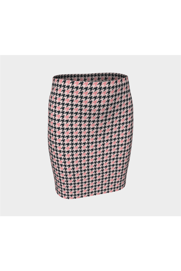 Pink Houndstooth Fitted Skirt