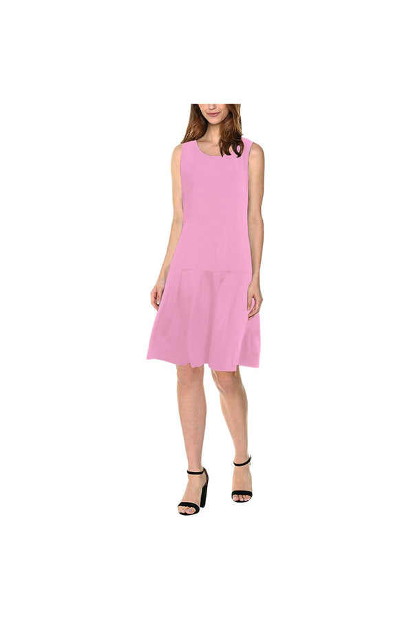 pink solid Sleeveless Splicing Shift Dress(Model D17)
