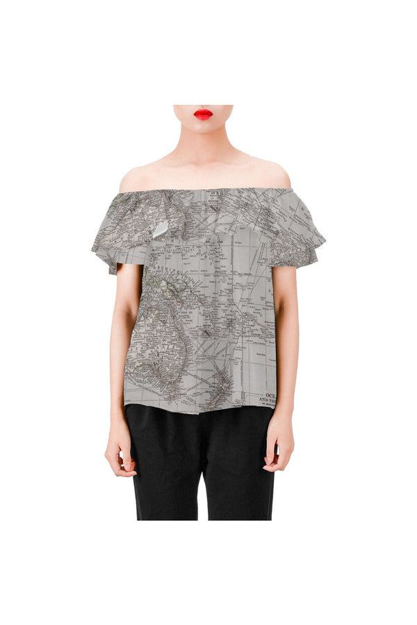 Oceania Map c1904 Women's Off Shoulder Blouse with Ruffle - Objet D'Art Online Retail Store