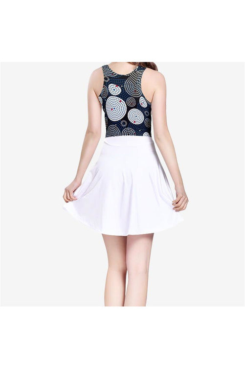 Concentric Circles Women's Sleeveless Midi Casual Flared Skater Dress