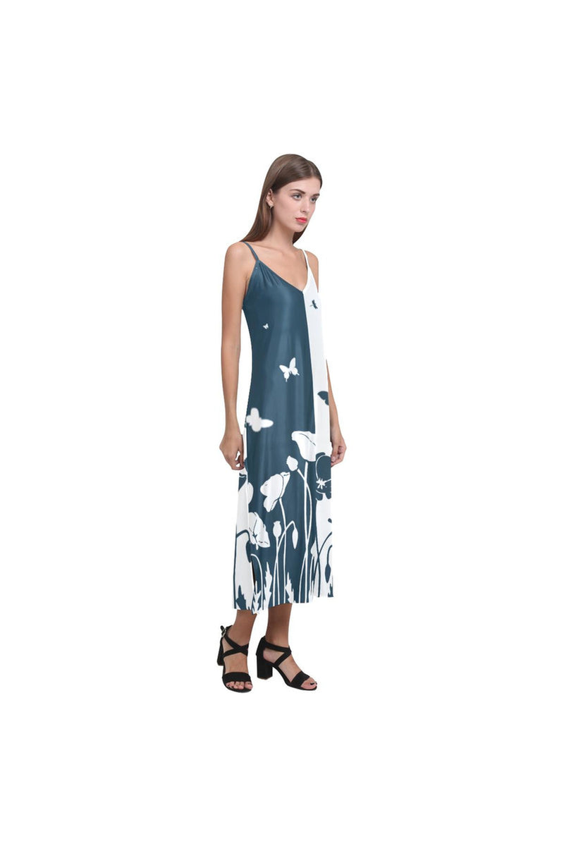 Poppy and Butterflies V-Neck Open Fork Long Dress - Objet D'Art Online Retail Store
