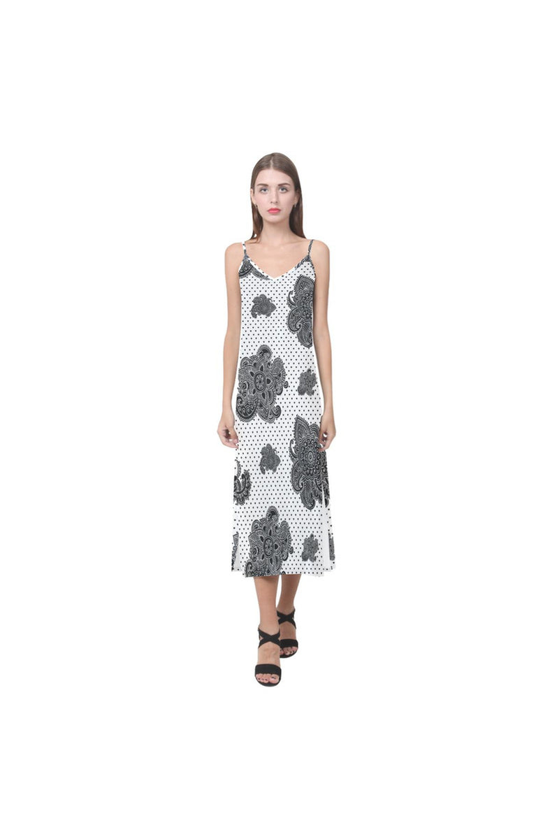 Paisley Hearts V-Neck Open Fork Long Dress - Objet D'Art Online Retail Store