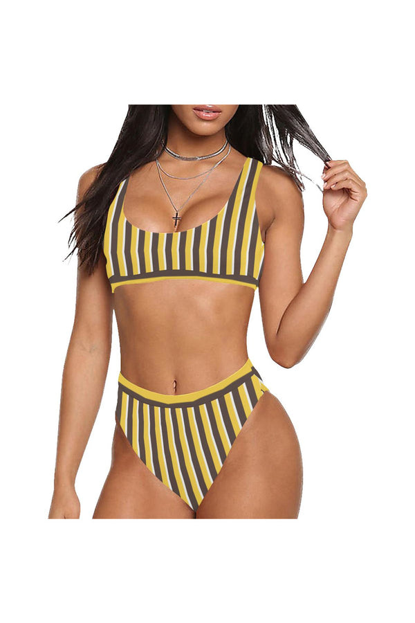 Butterscotch Stripe Sport Top & High-Waist Bikini Swimsuit