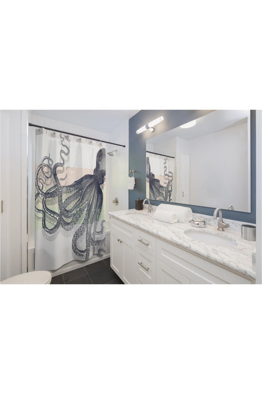 Blue Vintage Octopus Shower Curtains - Objet D'Art Online Retail Store