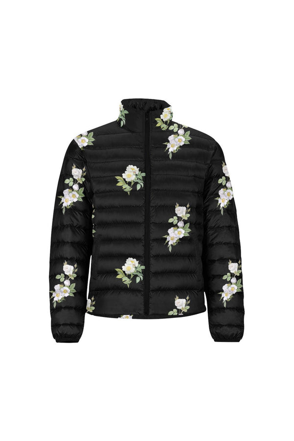 White Floral Unisex Stand Collar Padded Jacket