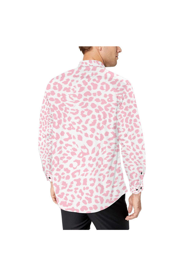 Pink Leopard Print Men's All Over Print Casual Dress Shirt