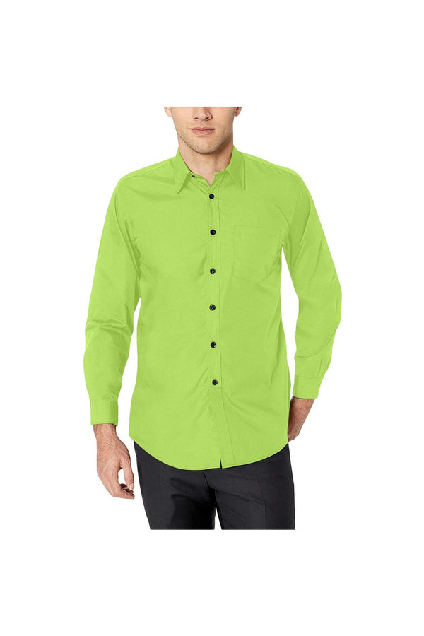 Lime Green Men's All Over Print Casual Dress Shirt (Model T61)