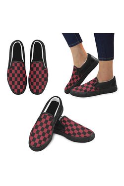 Black & Red Checker Men's Unusual Slip-on Canvas Shoes (Model 019) - Objet D'Art Online Retail Store