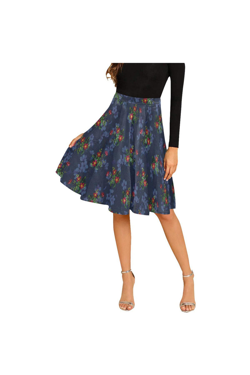 Navy Floral Melete Pleated Midi Skirt
