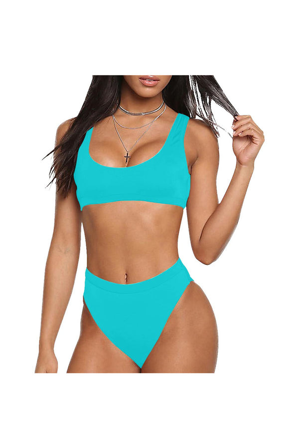 Marine Blue Sport Top & High-Waisted Bikini Swimsuit (Model S07)
