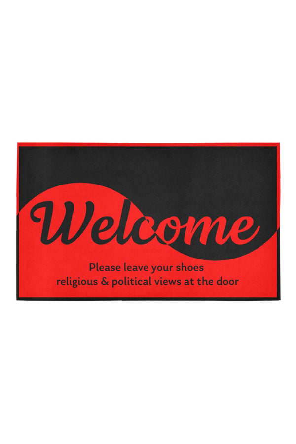 "Welocme - No shoes, no politics, & no religion Azalea Doormat 30"" x 18"""