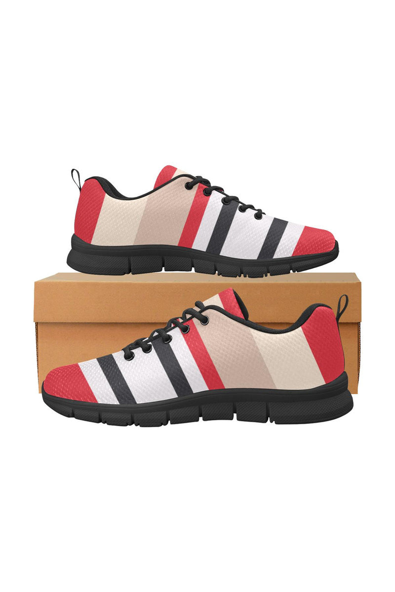 Red & Black Stripes Women's Breathable Running Shoes