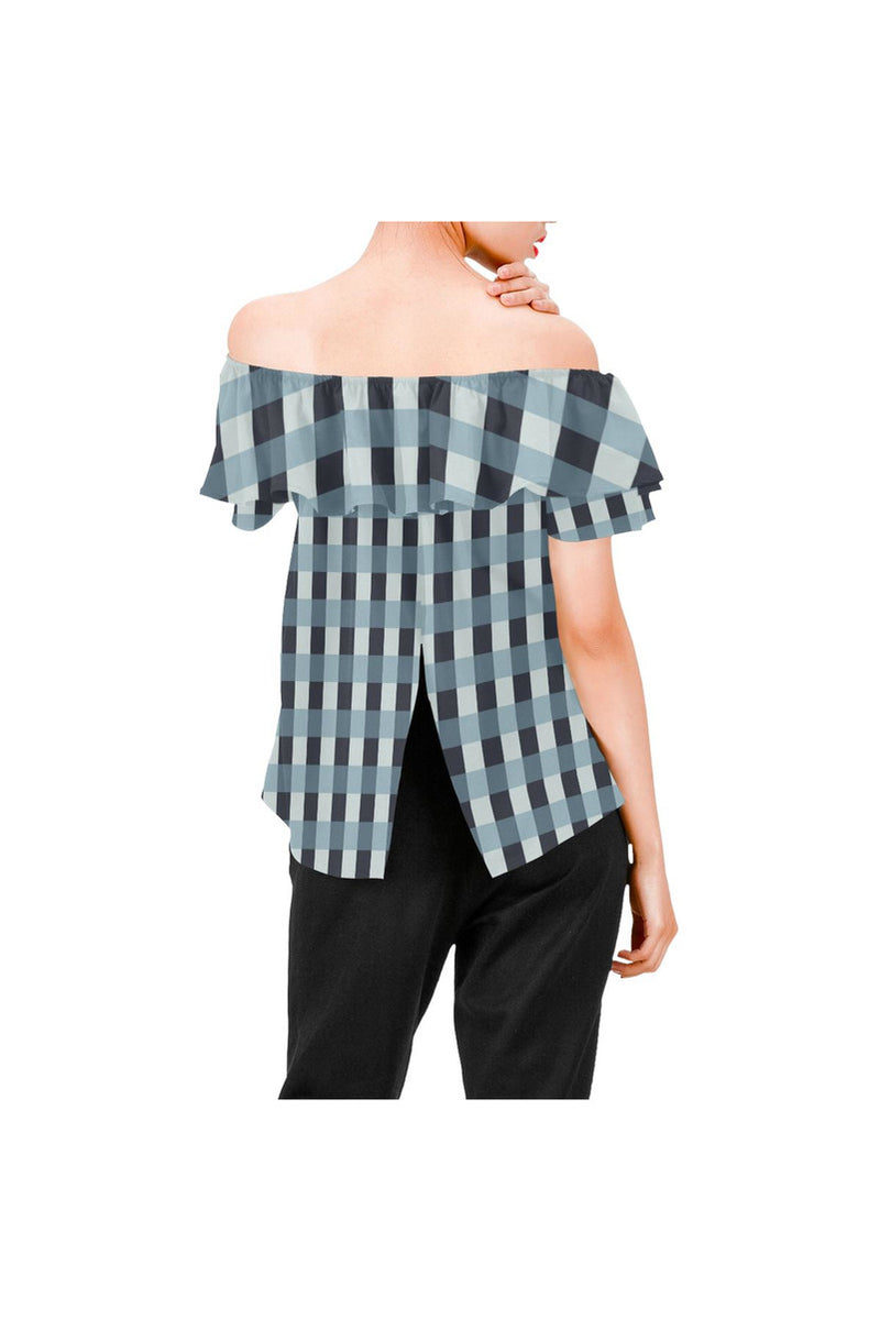 Tartan Turquoise Women's Off Shoulder Blouse with Ruffle