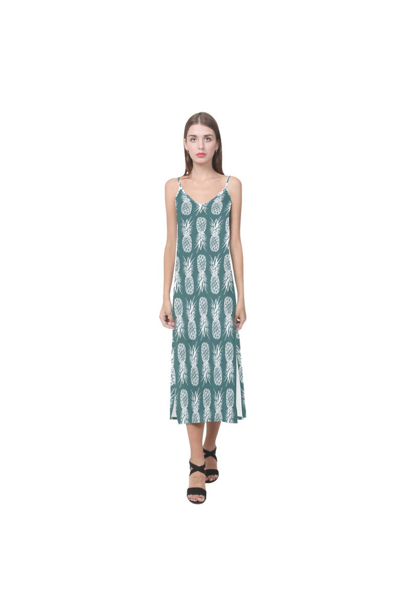 Piney Appey V-Neck Open Fork Long Dress - Objet D'Art Online Retail Store