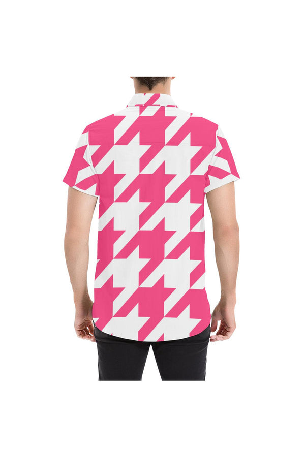Pink Houndstooth Large Men's All Over Print Short Sleeve Shirt/Large Size