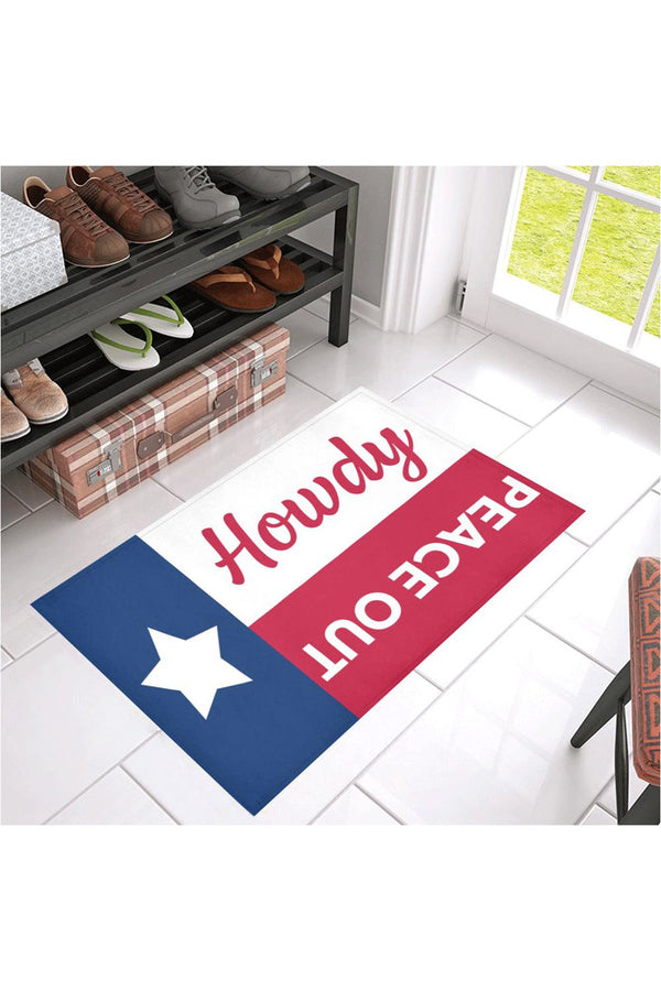 "Howdy & Peace Out Azalea Doormat 30"" x 18"""