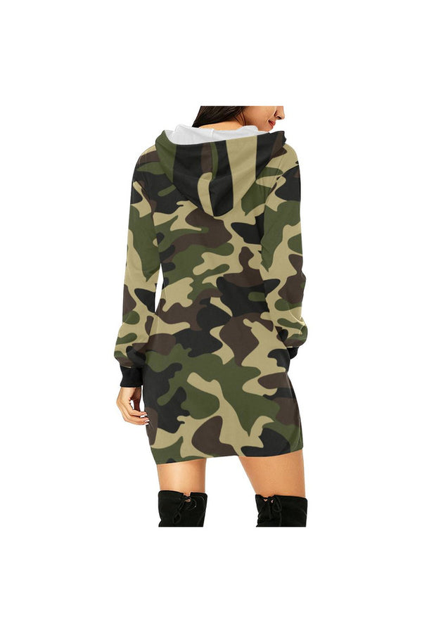 woodland camo hood All Over Print Hoodie Mini Dress (Model H27)