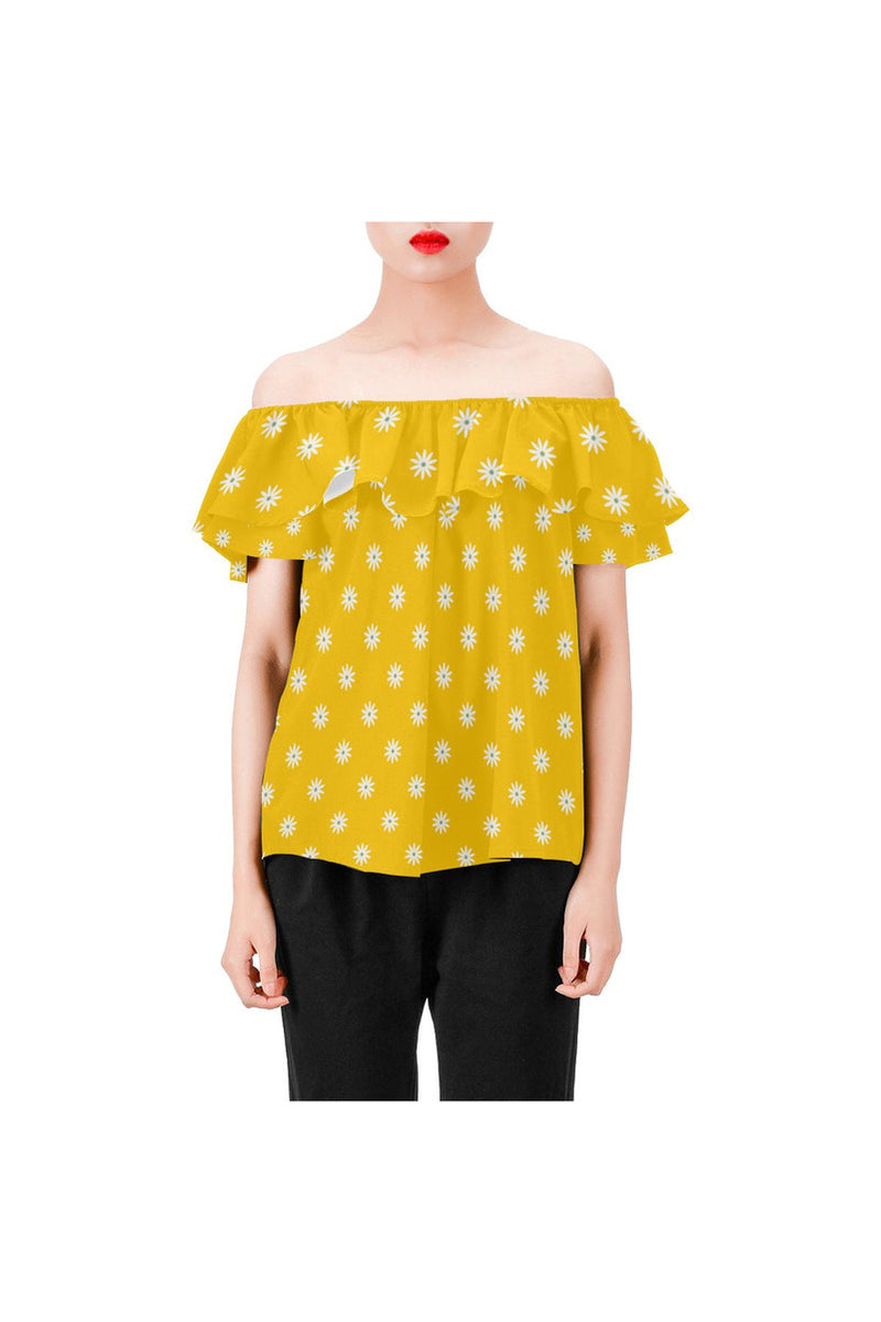 Gold Daisies Women's Off Shoulder Blouse with Ruffle - Objet D'Art Online Retail Store