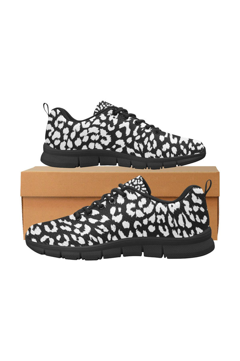 White on Black Leopard Print Women's Breathable Running Shoes