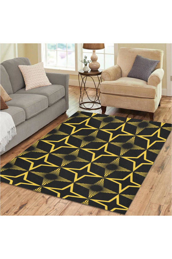 Gold Spatial Abstraction Area Rug7'x5'