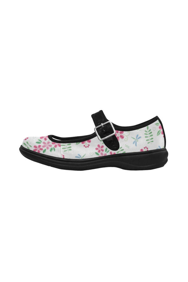 Floral Faux Stitch-work Mila Satin Women's Mary Jane Shoes