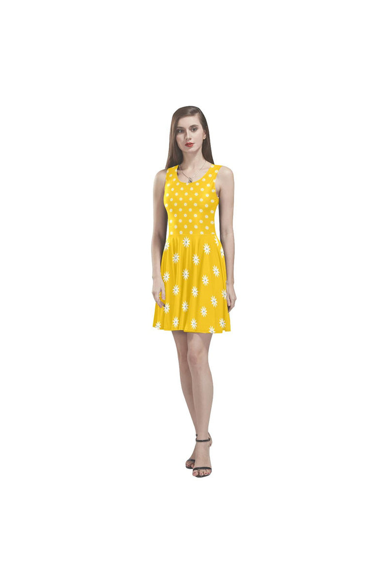 Gold Daisies Thea Sleeveless Skater Dress - Objet D'Art Online Retail Store