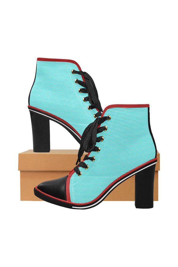Cyan Stripes Women's Lace Up Chunky Heel Ankle Booties (Model 054)