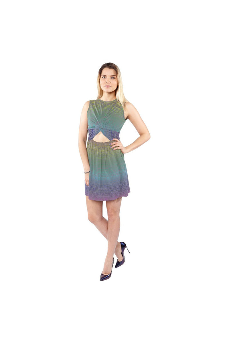 Greek Key Rainbow Sleeveless Cutout Waist Knotted Dress - Objet D'Art Online Retail Store