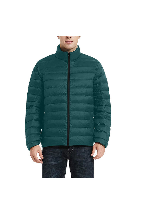 Forest Green Men's Stand Collar Padded Jacket (Model H41)