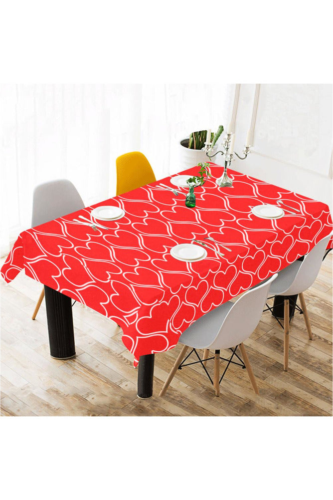 "Hearts Cotton Linen Tablecloth 60""x 104"" - Objet D'Art Online Retail Store"