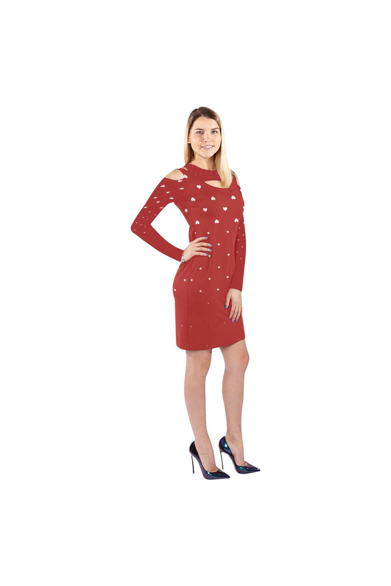 My Forever Valentine Cold Shoulder Long Sleeve Dress - Objet D'Art Online Retail Store
