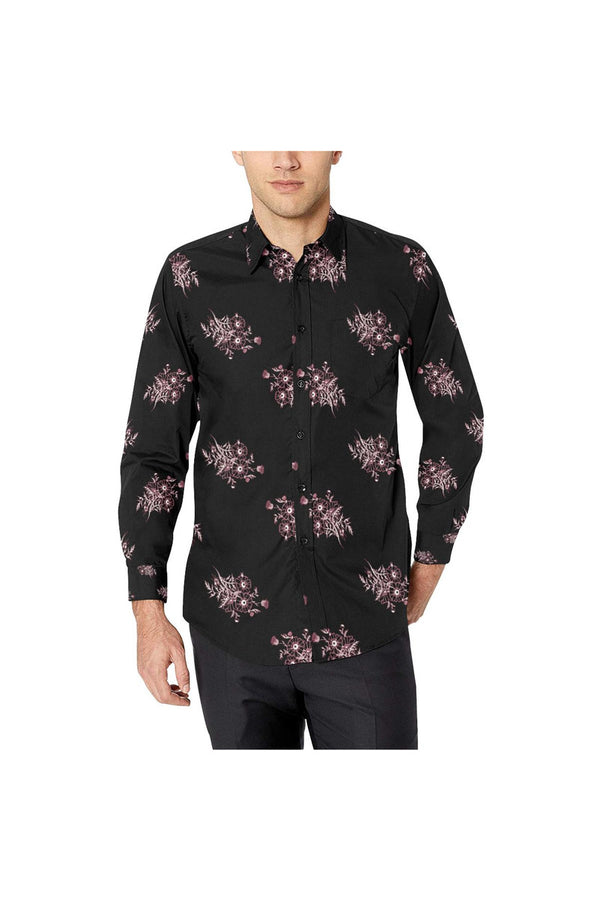 Midnight Black Floral Men's All Over Print Casual Dress Shirt (Model T61)