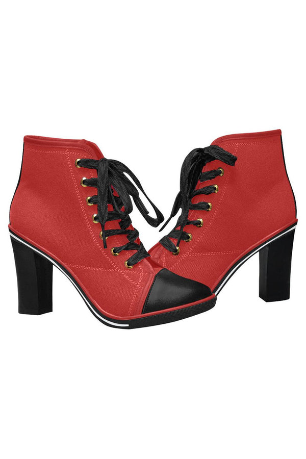 Crimson Red Women's Lace Up Chunky Heel Ankle Booties