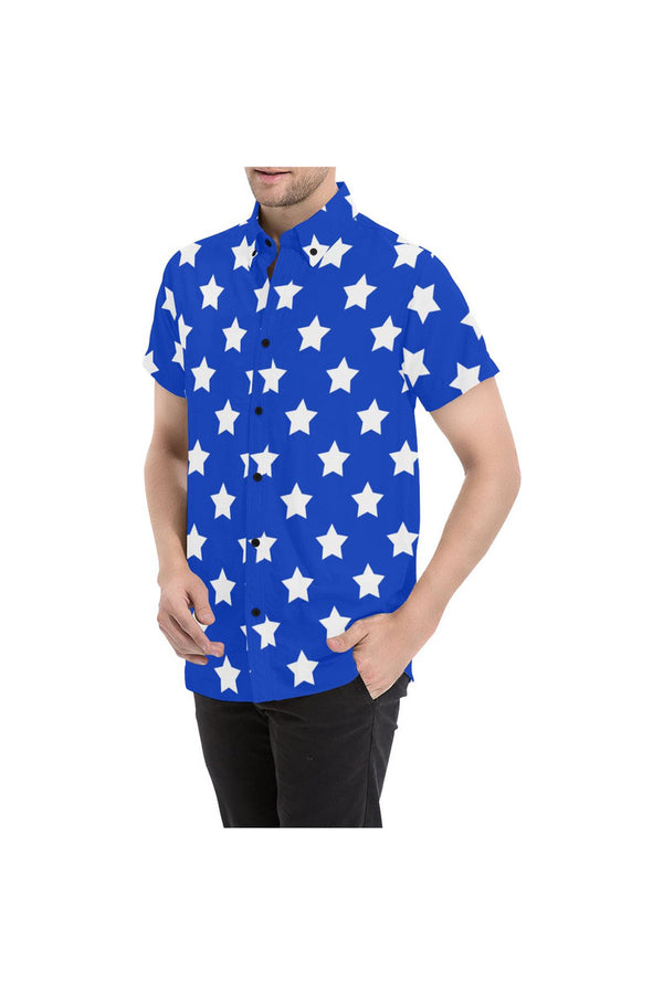 Stars Men's All Over Print Short Sleeve Shirt/Large Size (Model T53)