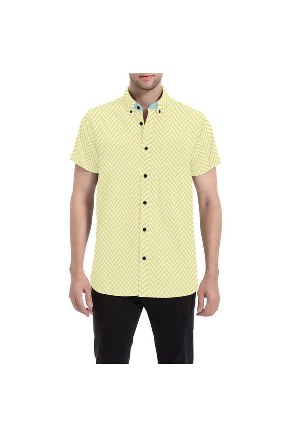 Herringbone Happiness Men's All Over Print Short Sleeve Shirt/Large Size (Model T53)