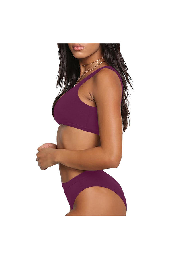 Plum Goodness Sport Top & High-Waisted Bikini Swimsuit (Model S07)