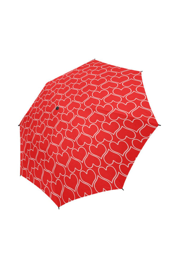 Red Hearts Semi-Automatic Foldable Umbrella - Objet D'Art Online Retail Store