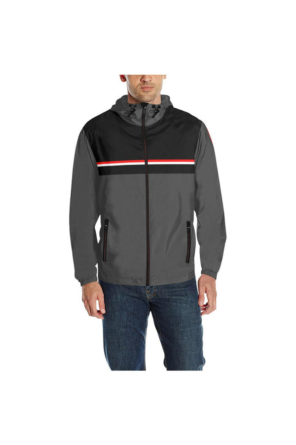 Gray & Black Quilted Windbreaker for Men