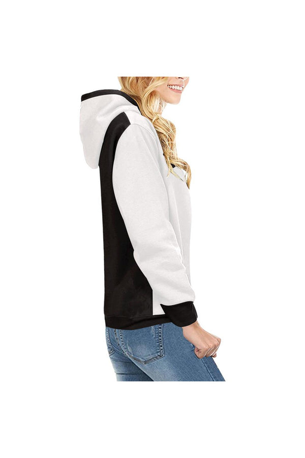 Black and White United High Neck Pullover Hoodie for Women