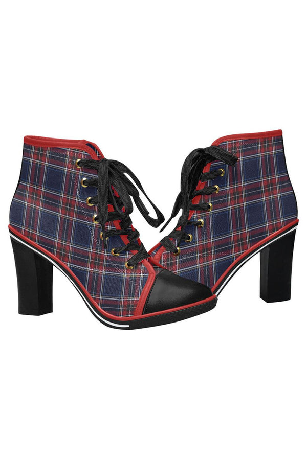 Tartan Women's Lace Up Chunky Heel Ankle Booties (Model 054)