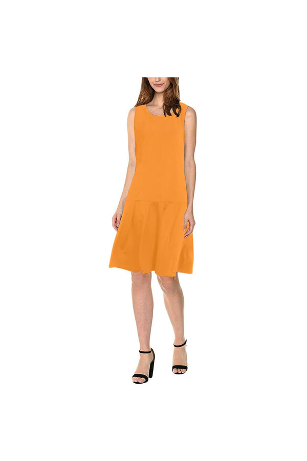 Turmeric Timbre Sleeveless Splicing Shift Dress(Model D17)