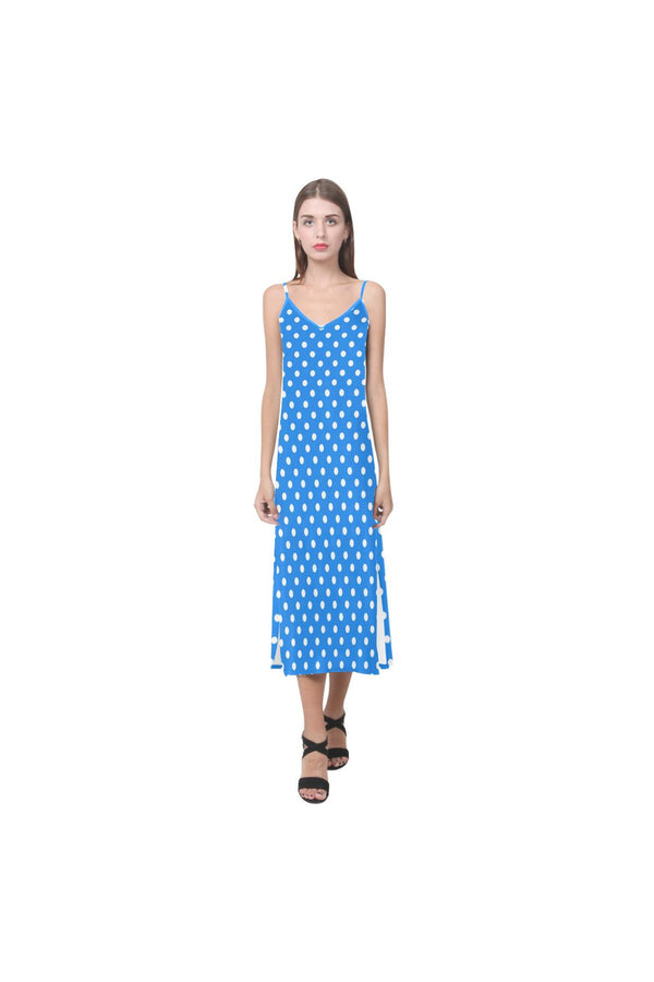 Coral Blue Pollka Dot V-Neck Open Fork Long Dress(Model D18)