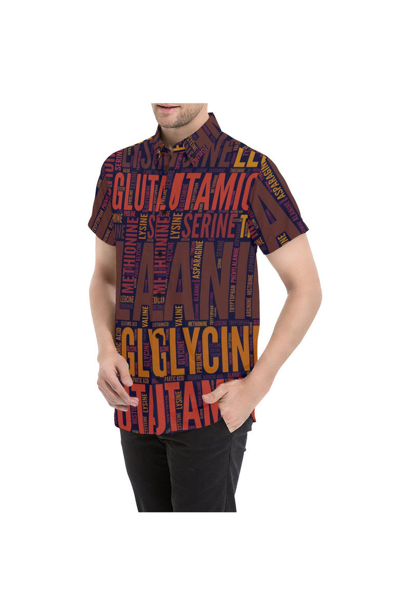 Amino Acid Motif Men's All Over Print Short Sleeve Shirt - Objet D'Art Online Retail Store