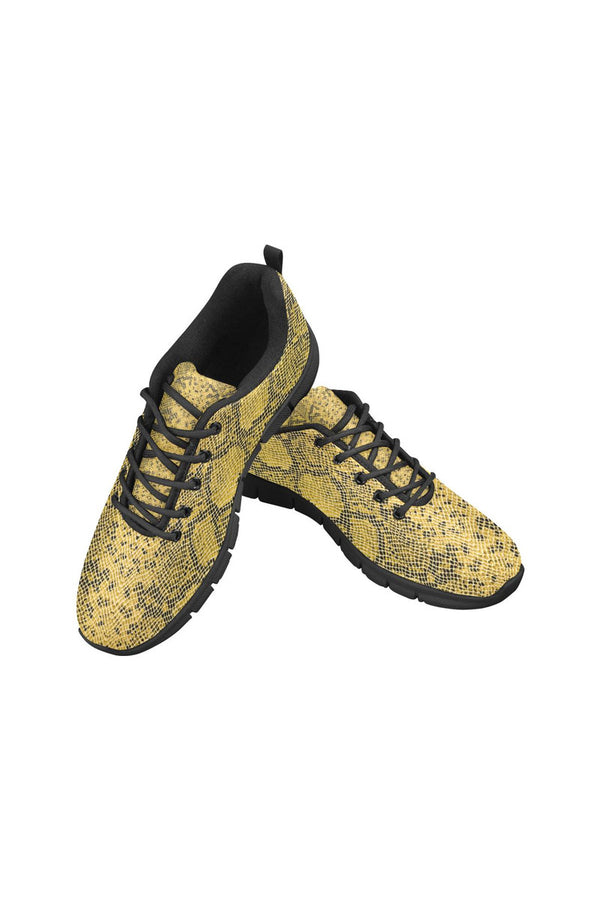 Gold Snakeskin Women's Breathable Running Shoes - Objet D'Art Online Retail Store