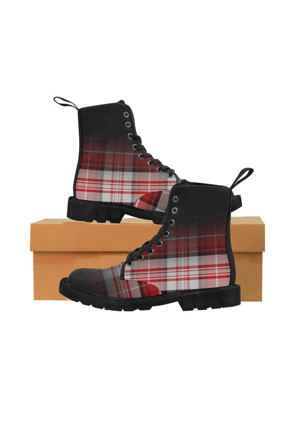 tartan boot 4 Martin Boots for Women (Black) (Model 1203H)