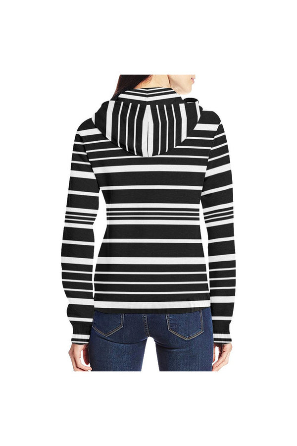 Black and White Striped Full Zip Hoodie for Women