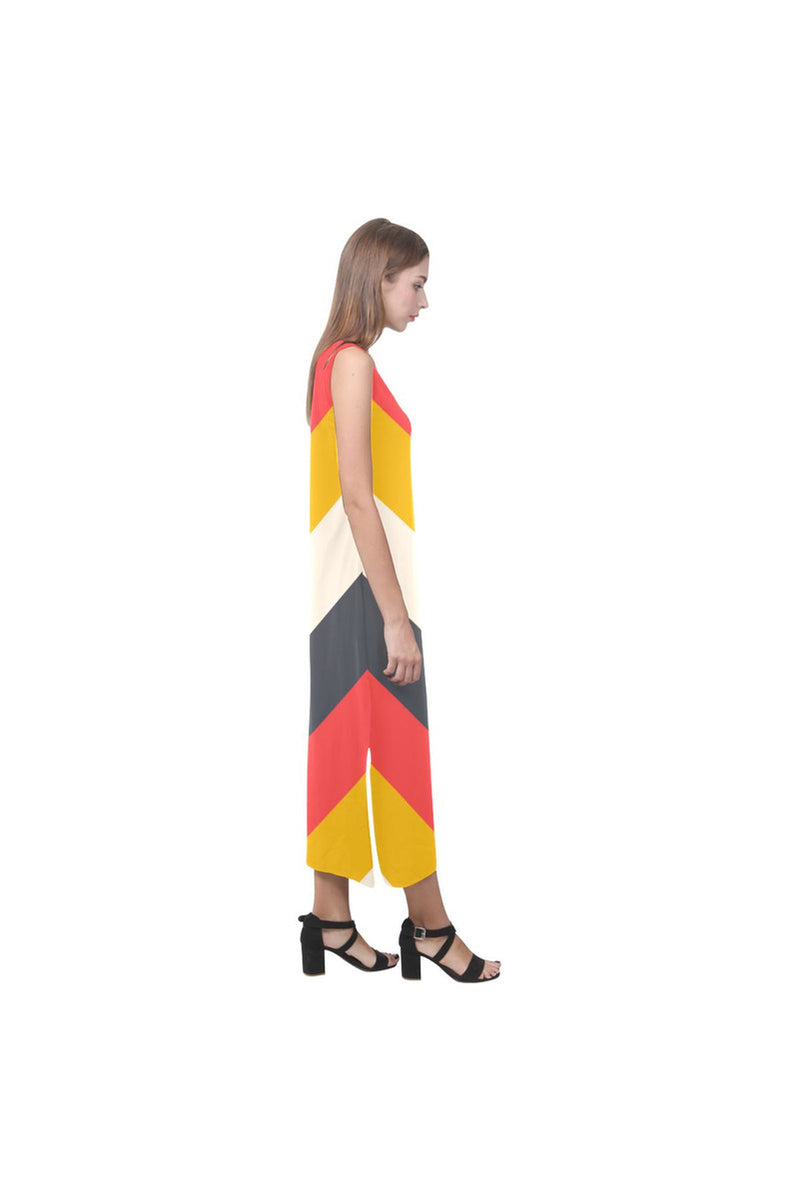 Chevron Phaedra Sleeveless Open Fork Long Dress - Objet D'Art Online Retail Store